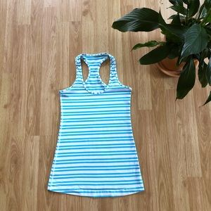 Lululemon blue and white striped cool racer back
